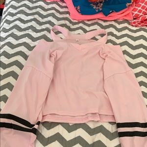 cropped long sleeve pink shirt
